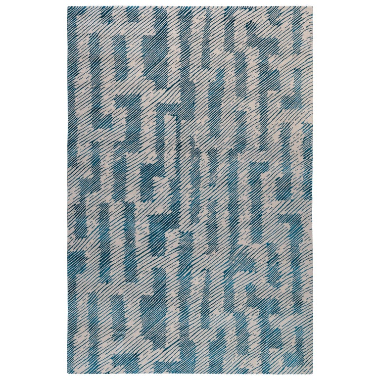For Sale: undefined (Blue) Verge Rug in Hand Knotted Wool and Silk by Kelly Wearstler