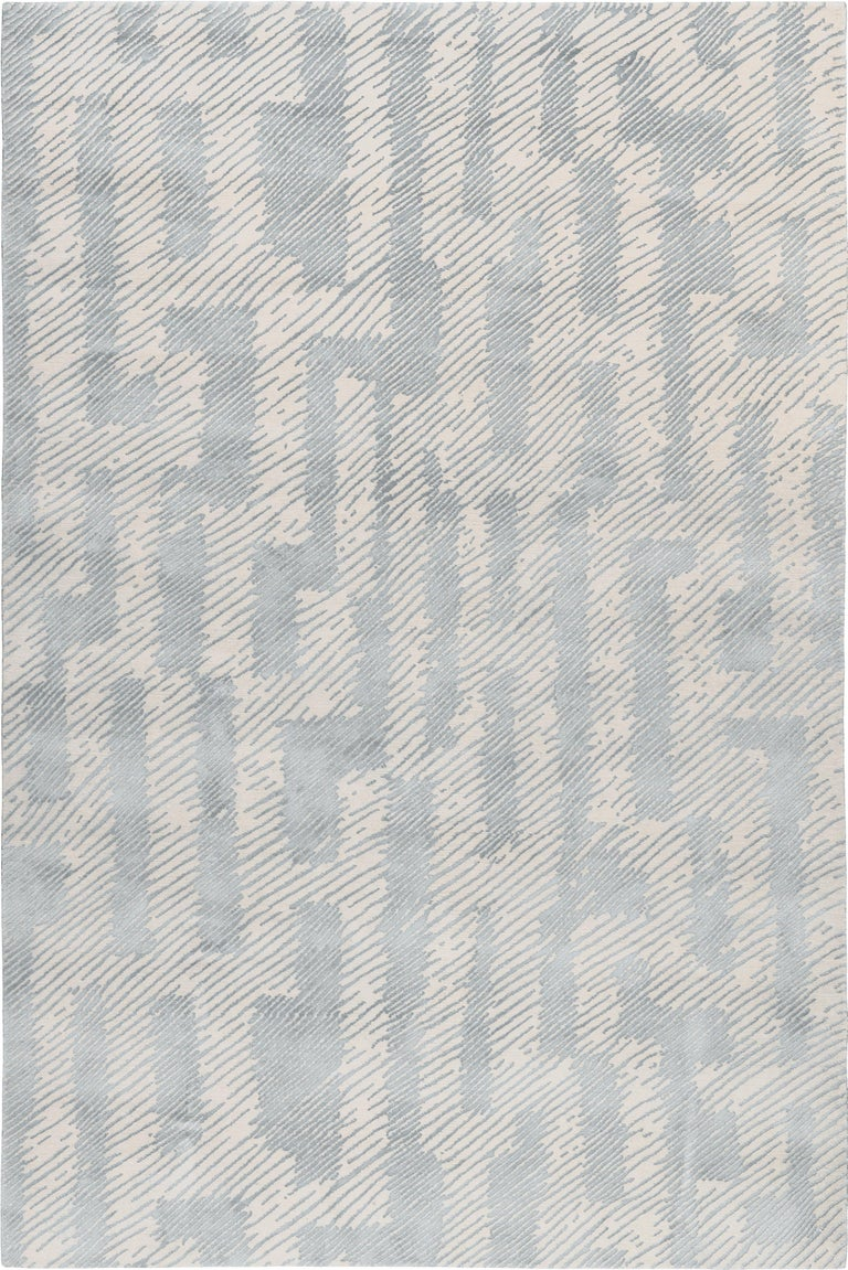For Sale: Beige (Ice) Verge Rug in Hand Knotted Wool and Silk by Kelly Wearstler