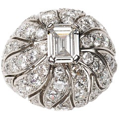 Verger & Cie Vintage Bombé Diamond and Platinum Ring, circa 1960