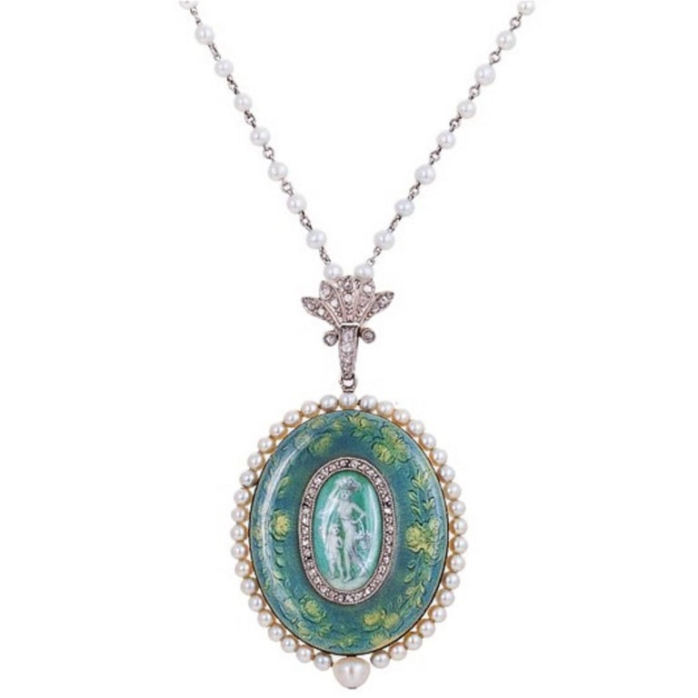 Verger Edwardian Gold Platinum Hand-Painted Enamel Pearl Diamond Pendant Watch