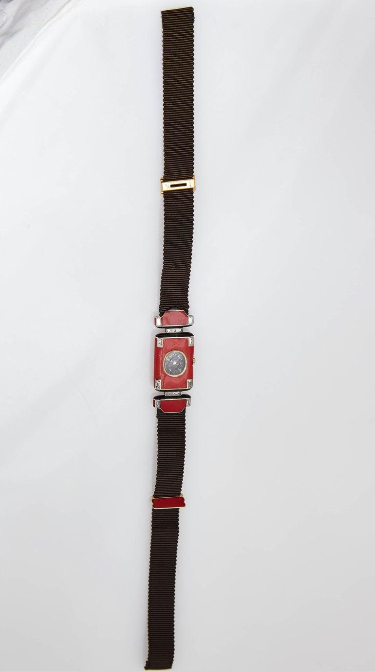 Women's Verger Frères Ladies platinum diamond red enamel Art Deco Wristwatch, circa 1925 For Sale