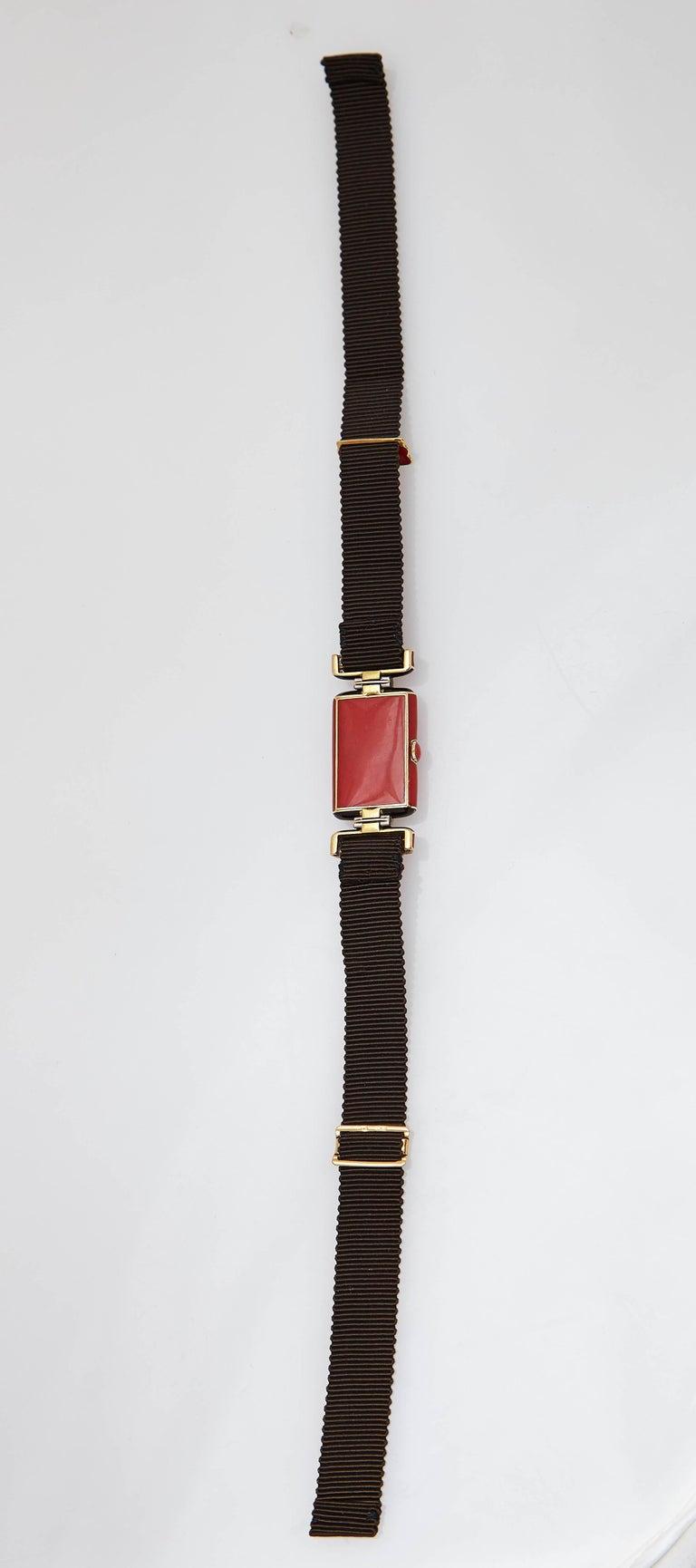 Verger Frères Ladies platinum diamond red enamel Art Deco Wristwatch, circa 1925 For Sale 1