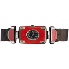 Verger Frères Ladies platinum diamond red enamel Art Deco Wristwatch, circa 1925