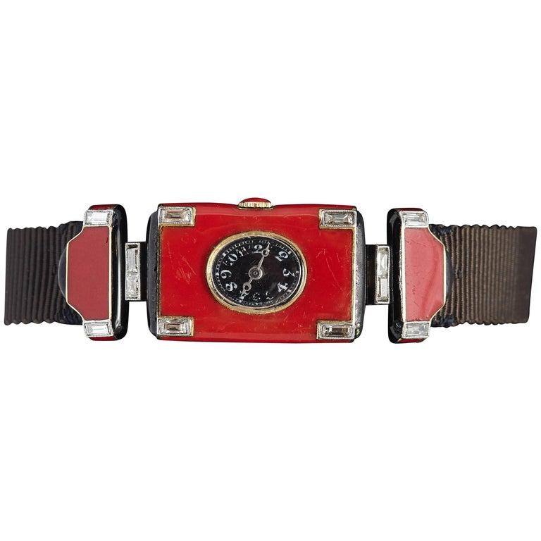 Verger Frères Ladies platinum diamond red enamel Art Deco Wristwatch, circa 1925 For Sale