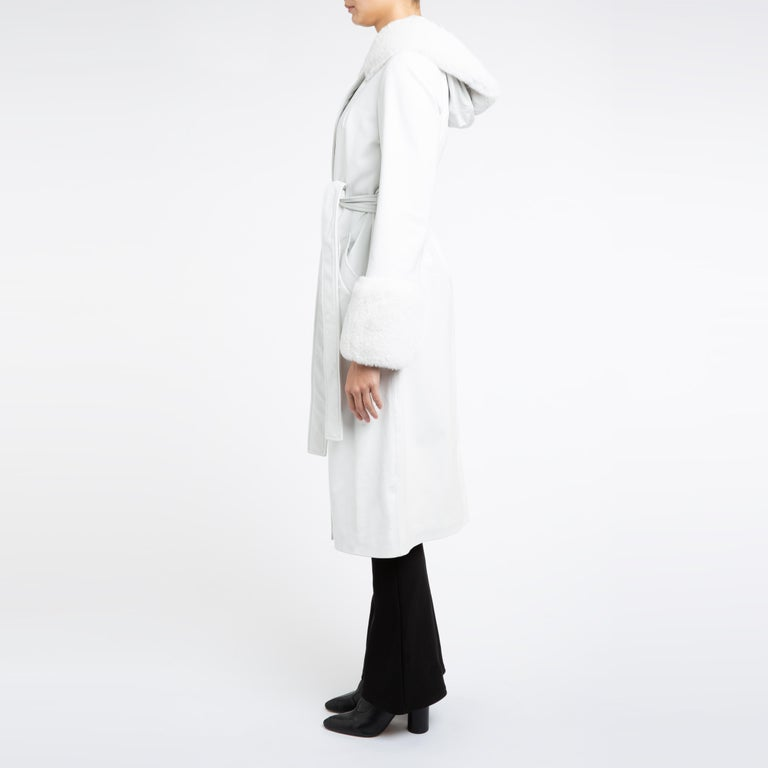 Verheyen Aurora Hooded Leather Trench Coat in White with Faux Fur - Size uk 10 For Sale 5