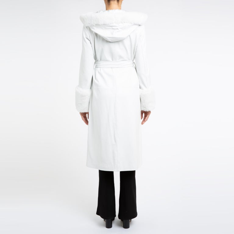 Verheyen Aurora Hooded Leather Trench Coat in White with Faux Fur - Size uk 10 For Sale 6