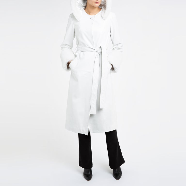 Verheyen Aurora Hooded Leather Trench Coat in White with Faux Fur - Size uk 10 For Sale 7