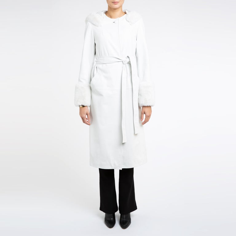Gray Verheyen Aurora Hooded Leather Trench Coat in White with Faux Fur - Size uk 10 For Sale
