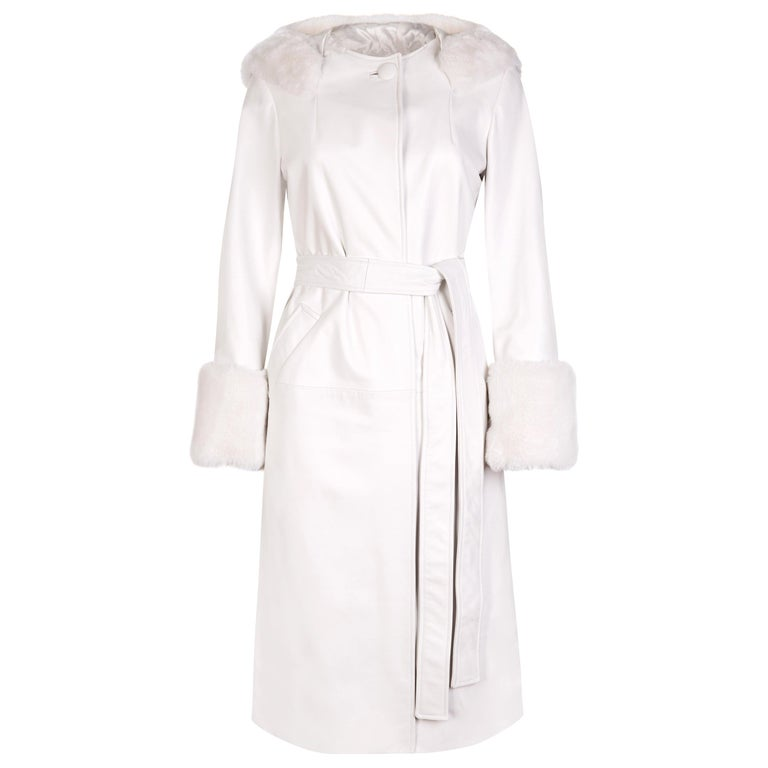 Verheyen Aurora Hooded Leather Trench Coat in White with Faux Fur - Size uk 10 For Sale