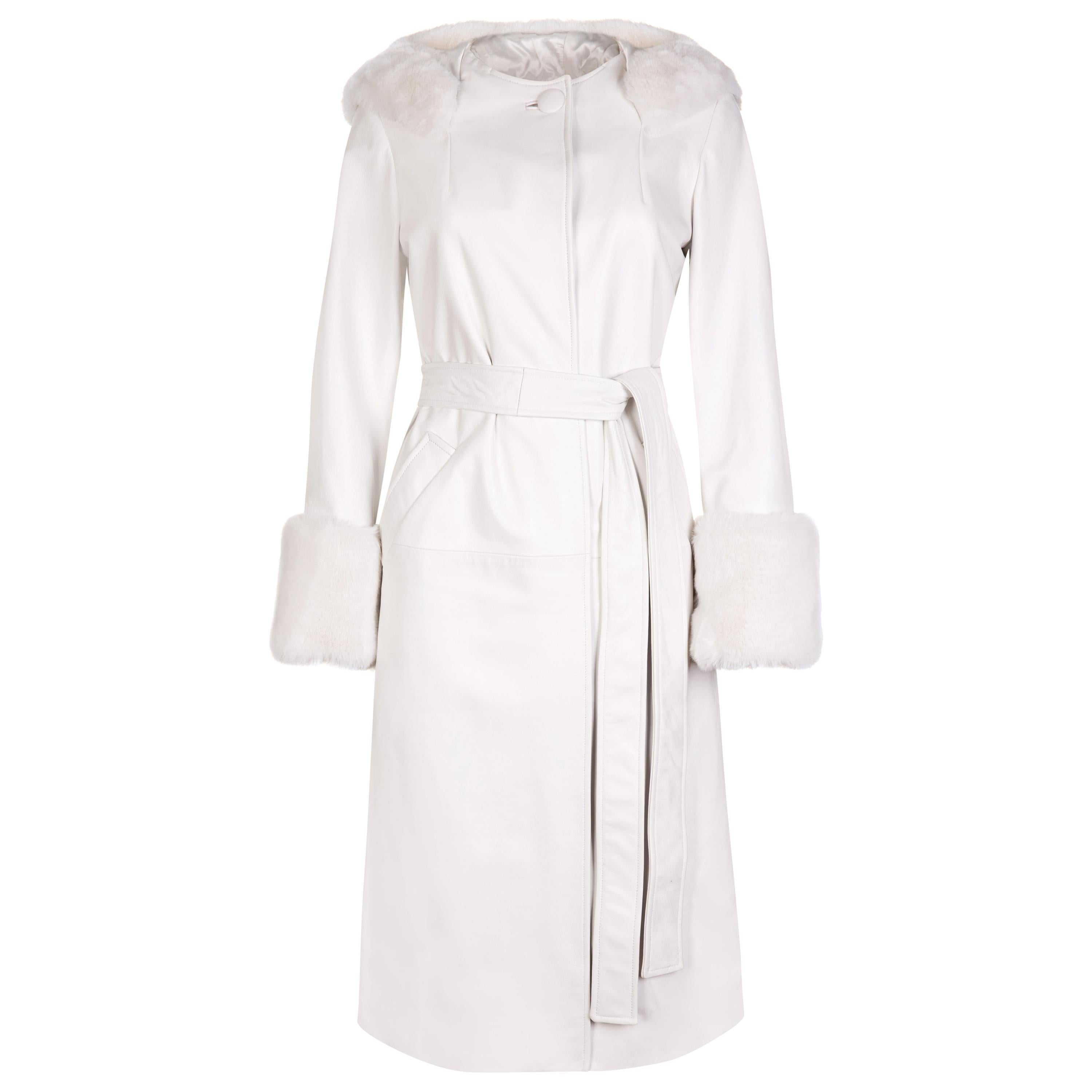 Verheyen Aurora Hooded Leather Trench Coat in White with Faux Fur - Size uk 12