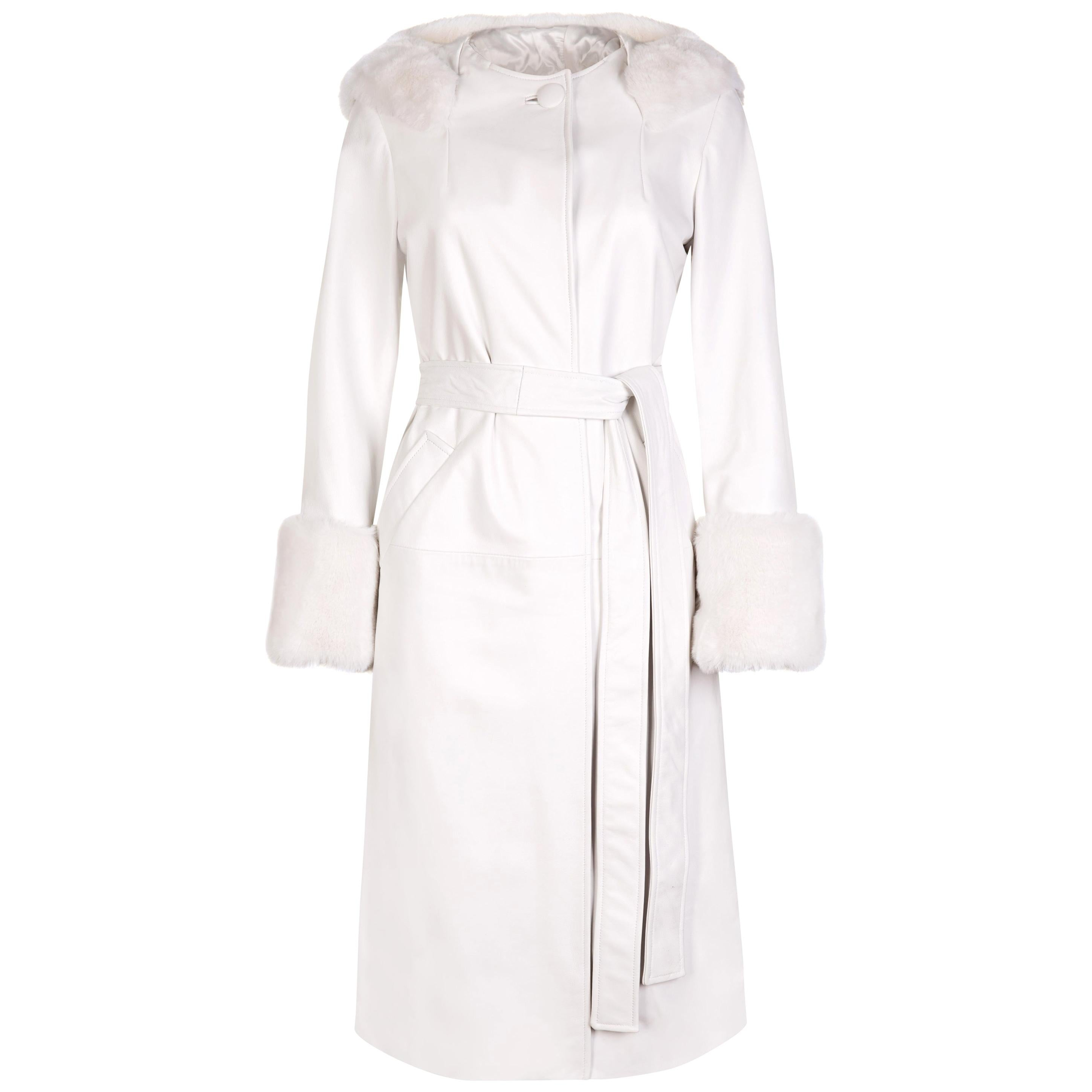 Verheyen Aurora Hooded Leather Trench Coat in White with Faux Fur - Size uk 6