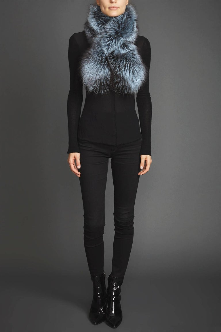 Verheyen Lapel Cross-through Collar in Iced Topaz Fox Fur - Valentines gift  The Lapel Cross-through Collar is Verheyen London's casual everyday design, which is perfectly shaped to wear over any outfit. Designed for layering, this structured shape,