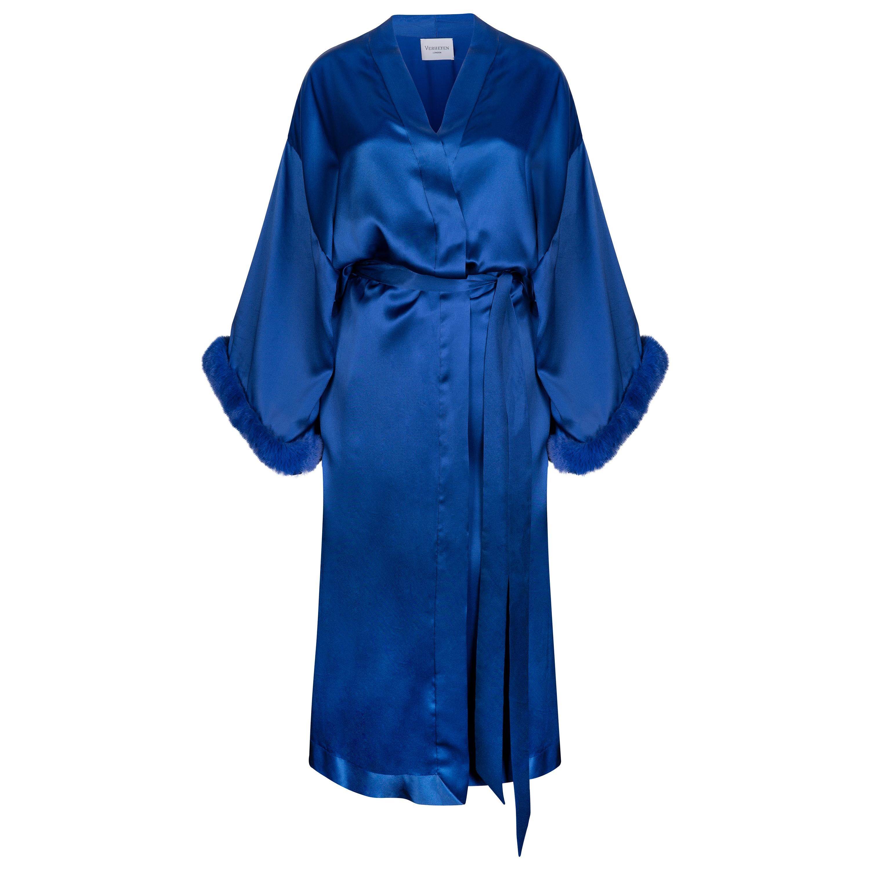 Verheyen London Blue Kimono in Italian Silk Satin with Faux Fur - Size small