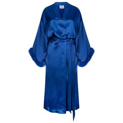 Verheyen London Blue Kimono in Italian Silk Satin with Faux Fur - Size small