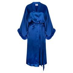 Verheyen London Blue Kimono in Italian Silk Satin with Faux Fur - Size small uk