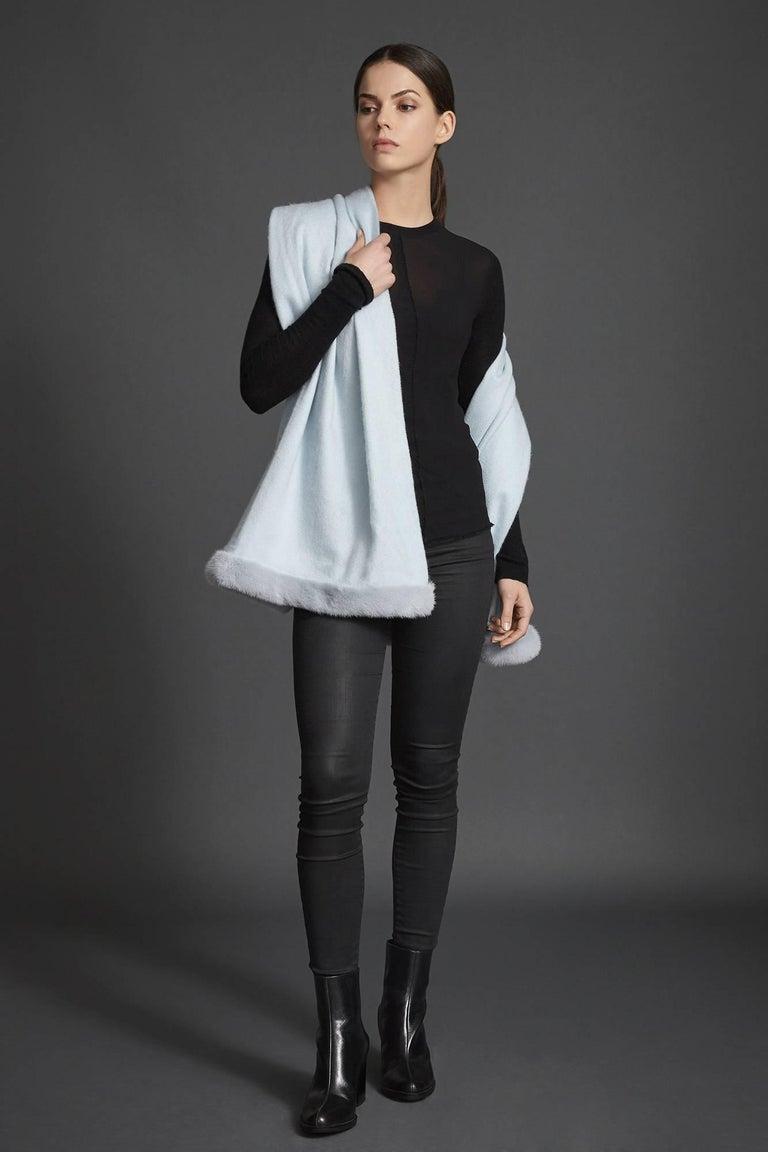 Gray Verheyen London Cashmere Mink Fur Trimmed Ice Blue Shawl Scarf  -  Brand New  For Sale