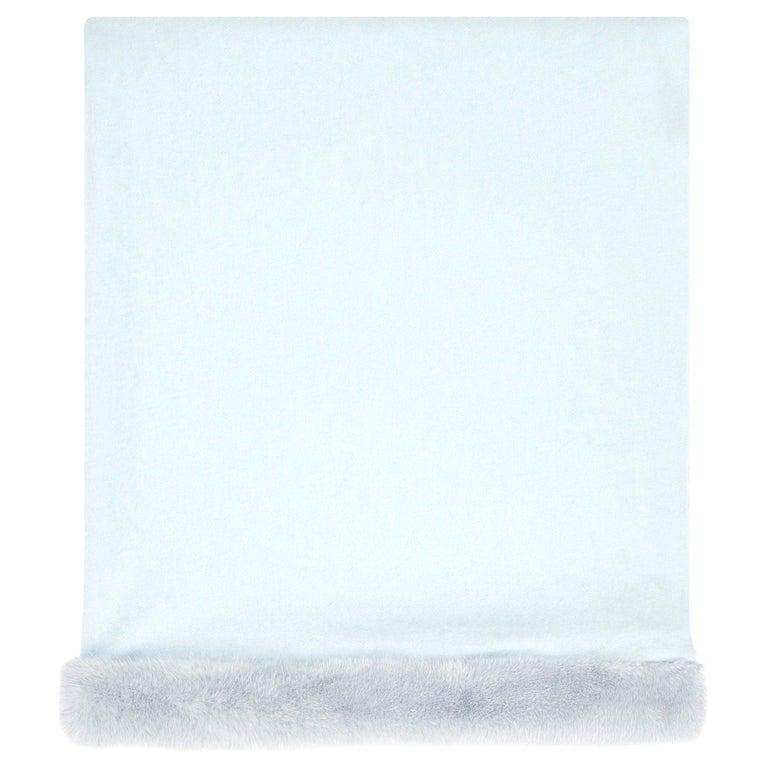 Verheyen London Cashmere Mink Fur Trimmed Ice Blue Shawl Scarf  -  Brand New  For Sale