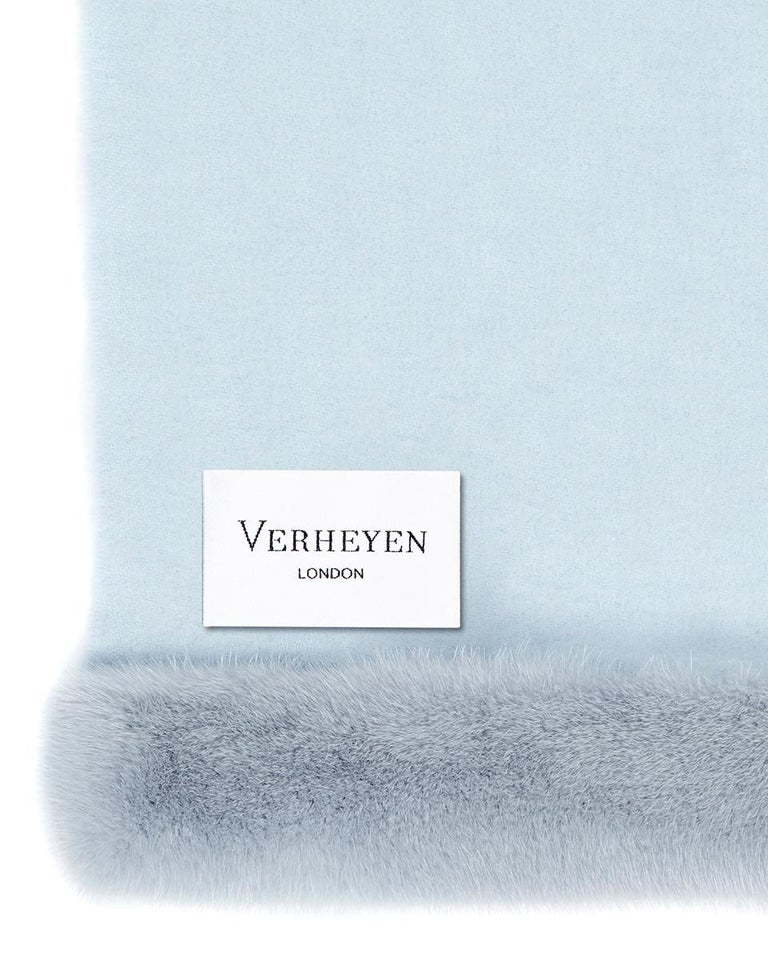 Verheyen London Cashmere Mink Fur Trimmed Ice Blue Shawl Scarf  -  Brand New   Verheyen London's shawl is spun from the finest Scottish woven cashmere and finished with the most exquisite dyed mink. Its warmth envelopes you with luxury, perfect for