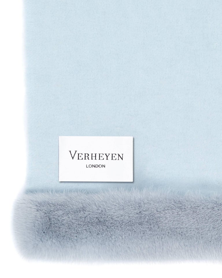 Verheyen London Cashmere Mink Fur Trimmed Ice Blue Shawl Scarf  -  Brand New  In New Condition For Sale In London, GB
