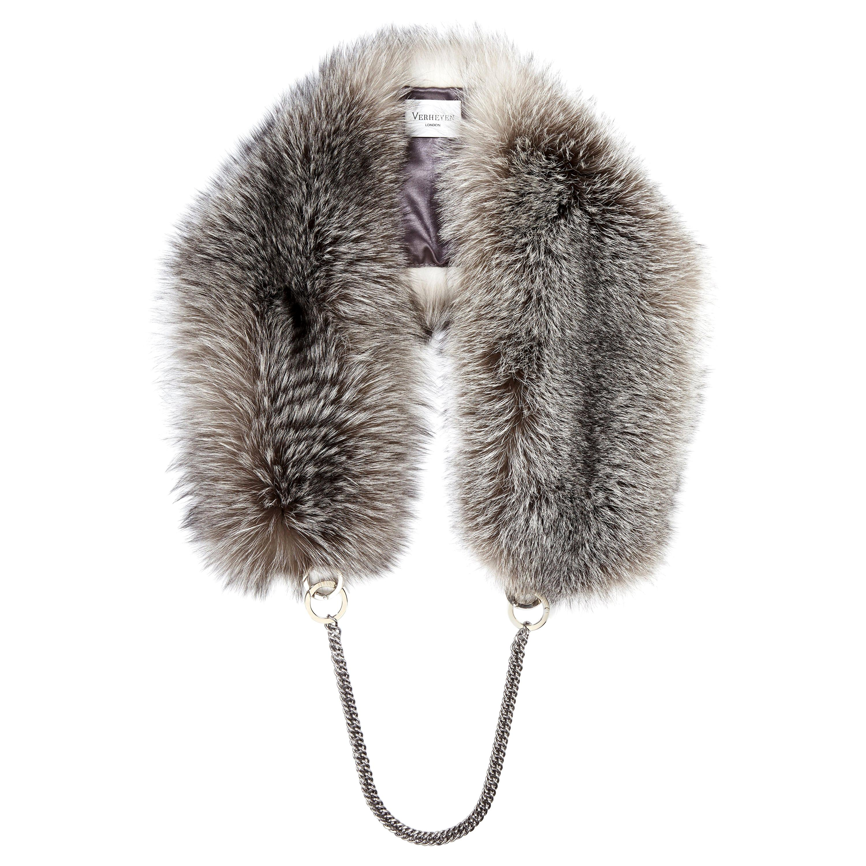 Verheyen London Chained Stole Blue Frost Fox Fur & Silk Lining with Chain