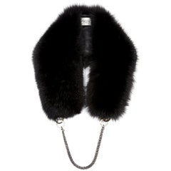 Verheyen London Chained Stole in Black Fox Fur & Chain - Brand New