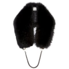 Verheyen London Chained Stole in Black Fox Fur & Silk Lining with Chain
