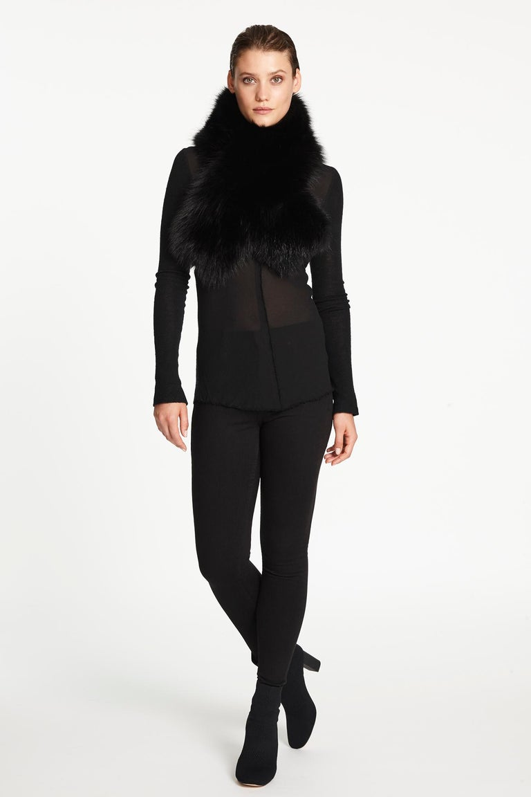 Verheyen London Chained Stole in Black Fox Fur & Silk Lining with Chain - New For Sale 10