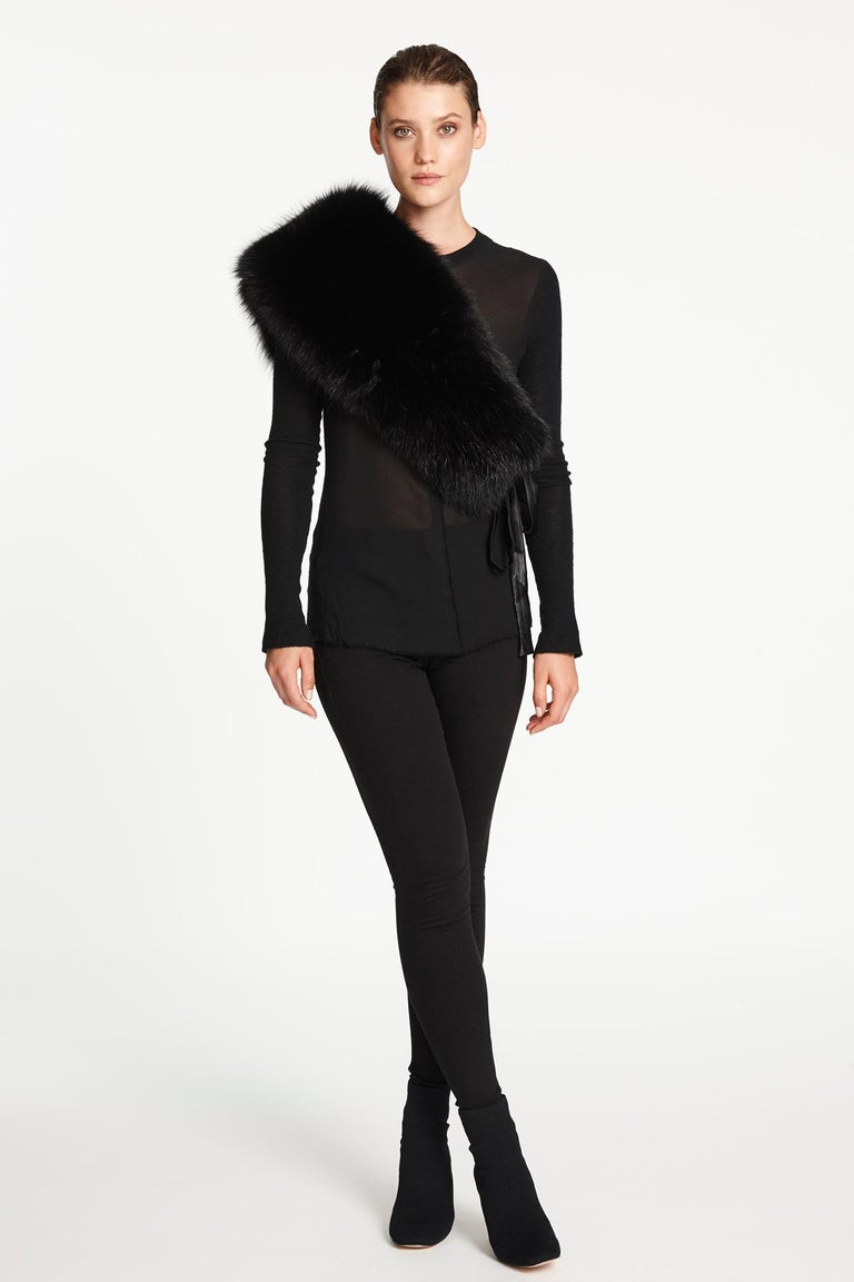 Verheyen London Chained Stole in Black Fox Fur & Silk Lining with Chain - New  For Sale 11