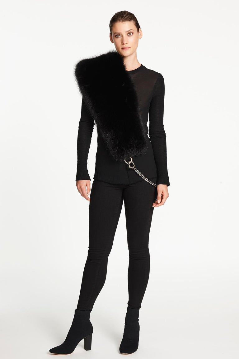 Verheyen London Chained Stole in Black Fox Fur & Silk Lining with Chain - New  For Sale 2