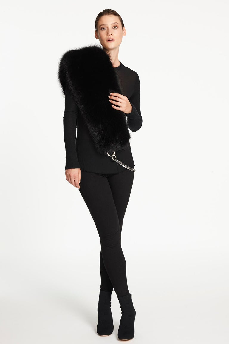 Verheyen London Chained Stole in Black Fox Fur & Silk Lining with Chain - New  For Sale 5