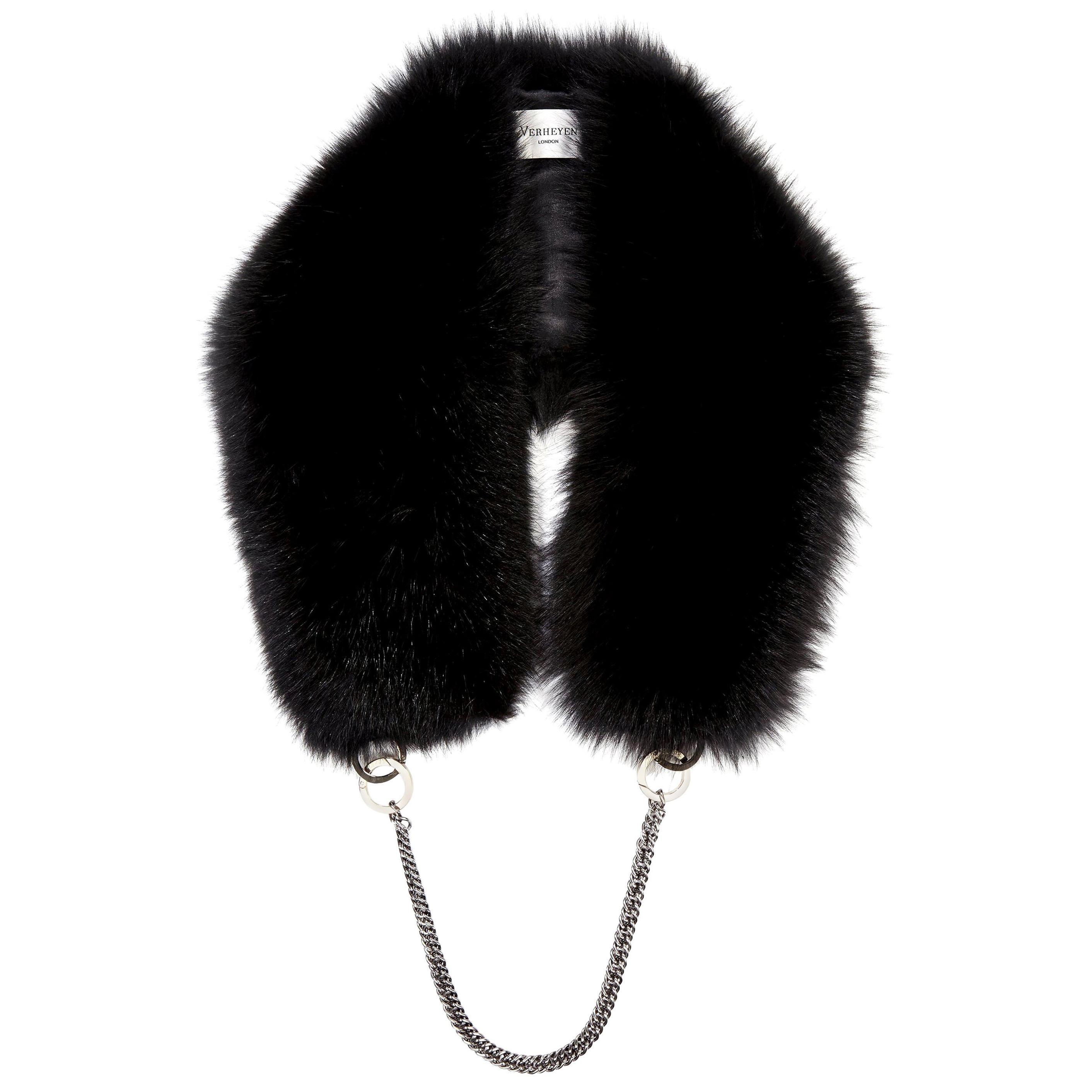 Verheyen London Chained Stole in Black Fox Fur & Silk Lining with Chain