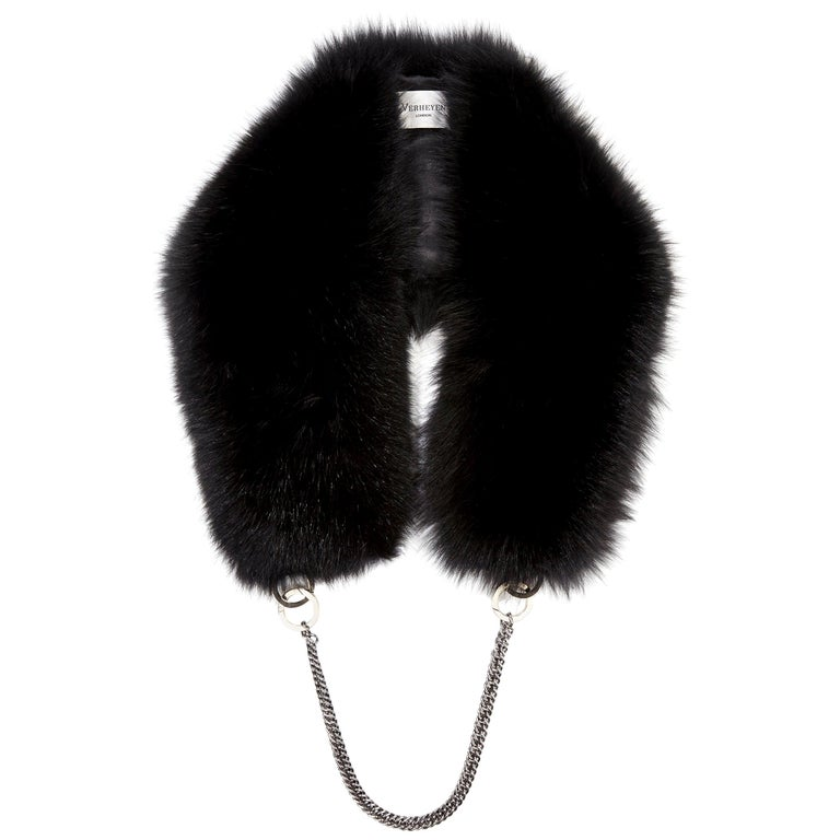 Verheyen London Chained Stole in Black Fox Fur & Silk Lining with Chain - New For Sale