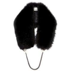 Verheyen London Chained Stole in Black Fox Fur & Silk Lining with Chain - New