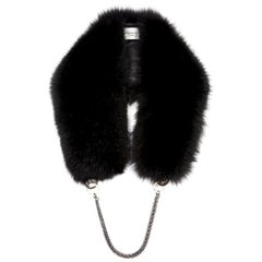Verheyen London Chained Stole in Black Fox Fur & Silk Lining with Chain - New