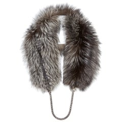 Verheyen London Chained Stole in Metallic Silver Fox Fur with Chain 6 ways