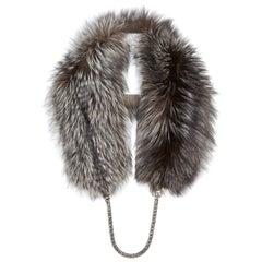 Verheyen London Chained Stole in Metallic Silver Fox Fur with Chain 6 ways