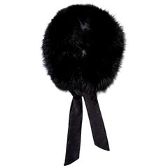 Verheyen London Circle Stand up Collar in Black Fox Fur & Silk tie - Brand New
