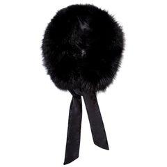 Verheyen London Circle Stand up Collar in Black Fox Fur & with Silk tie - Gift