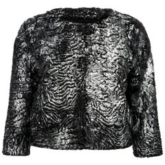 Verheyen London Cropped Jacket in Swakara Lamb Fur in Metallic Silver -Brand new
