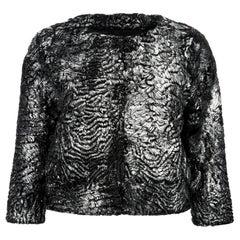 Verheyen London Cropped Jacket in Swakara Lamb Fur in Metallic Silver -Brand new