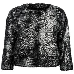 Verheyen London Cropped Jacket in Swakara Lamb Fur in Metallic Silver
