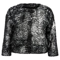 Verheyen London Cropped Jacket in Swakara Lamb Fur in Metallic Silver - Size 8