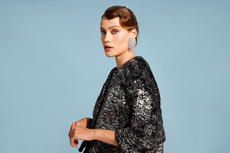 Women's Verheyen London Cropped Jacket in Swakara Lamb Fur in Metallic Silver Size uk 8