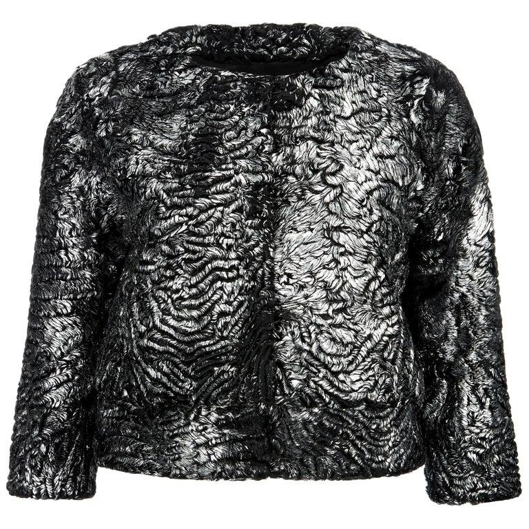 Verheyen London Cropped Jacket in Swakara Lamb Fur in Metallic Silver Size uk 8