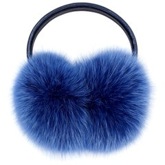Verheyen London Ear Muffs in Sky Blue Fox Fur