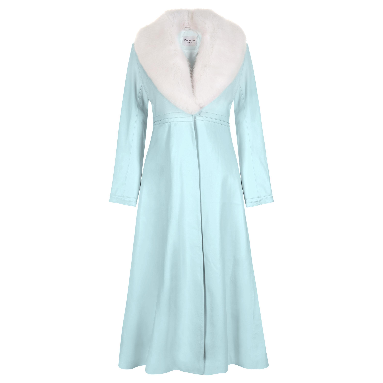 Verheyen London Edward Leather Coat in Aquamarine & White Faux Fur - Size 12 UK