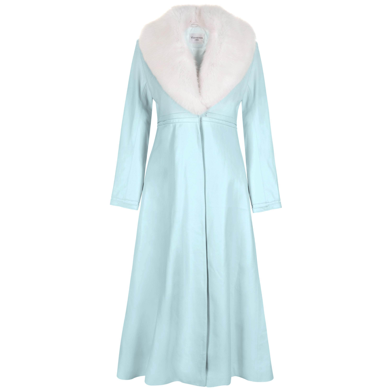 Verheyen London Edward Leather Coat in Aquamarine & White Faux Fur - Size 8 UK