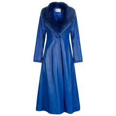 Verheyen London Edward Leather Coat in Blue with Faux Fur - Size uk 12