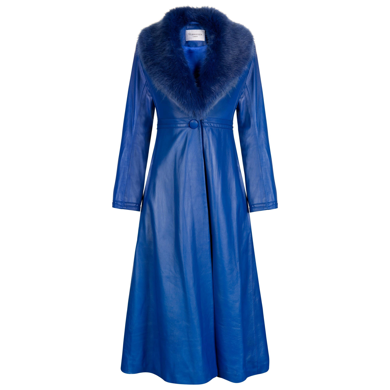 Verheyen London Edward Leather Coat in Blue with Faux Fur - Size uk 12
