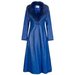 Verheyen London Edward Leather Coat in Blue with Faux Fur - Size uk 14